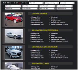 Car Dealer Website Inventory Page Type 2