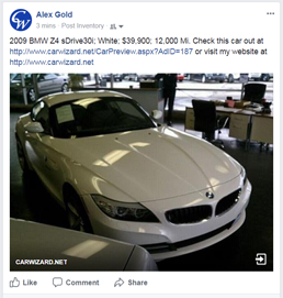 Facebook posted car example